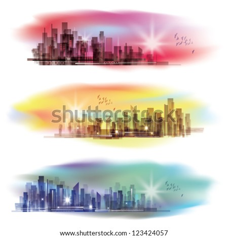City Skylines - stock vector