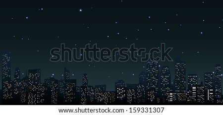 City skylines at night .urban scene  - stock vector