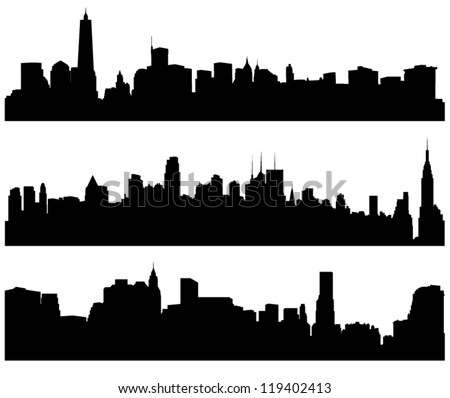 City Skylines Silhouette on white background - stock vector