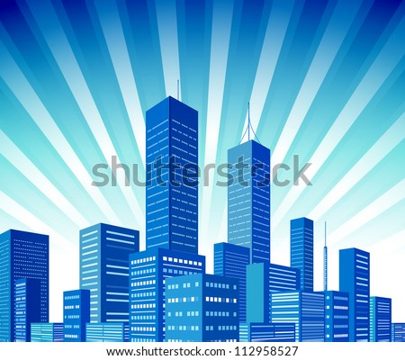 City skyscraper view background. Vector illustration - stock vector