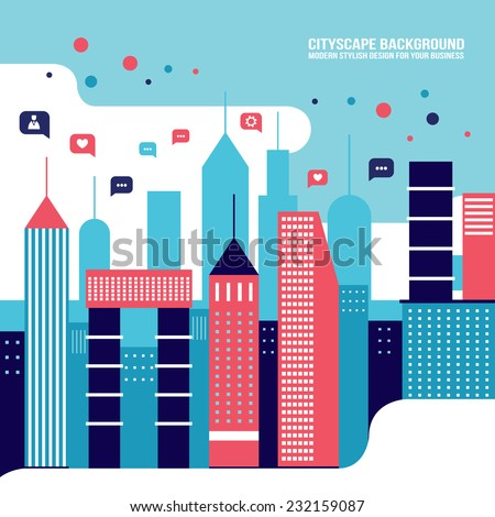 City social network Urban landscape filled with business icons communication concept  infographic elements - stock vector