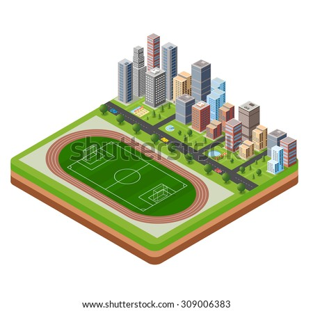 City stadium with a highway with cars and trees isometric view - stock vector