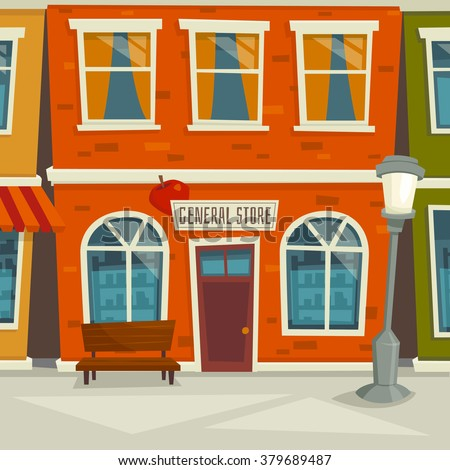 City street background with shop building / cartoon vector illustration / town exterior / facade with windows - stock vector