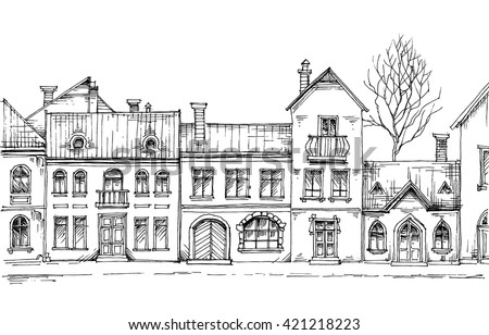 City street, linear buildings, front view - stock vector