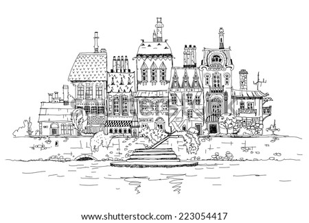 City street on the river side, sketch - stock vector