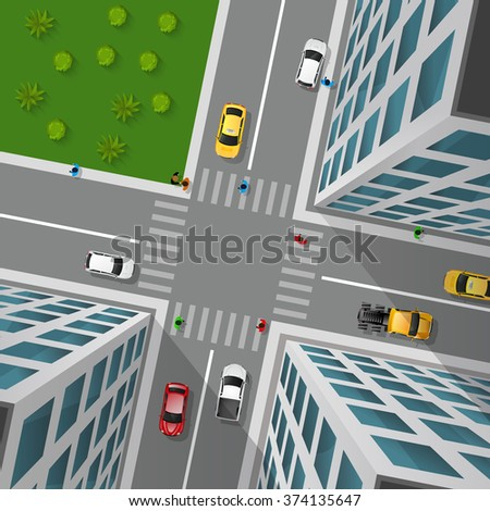 City street top view 3d design concept with crossroad cars buildings and markings of pedestrian crossings vector illustration  - stock vector