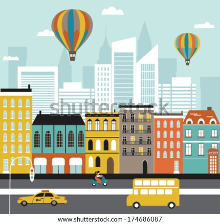 City street. Vector - stock vector