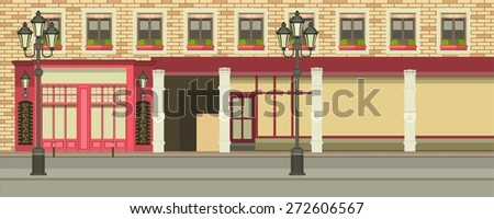 City street with tall buildings panoramic views and shops on the first floor - stock vector