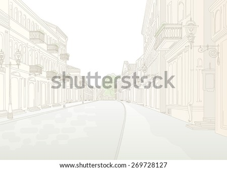 City street without people in sunny summer day. Stylized line drawing by hand - stock vector