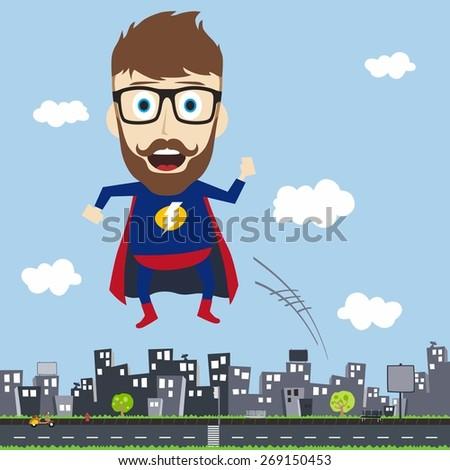 city superhero - stock vector