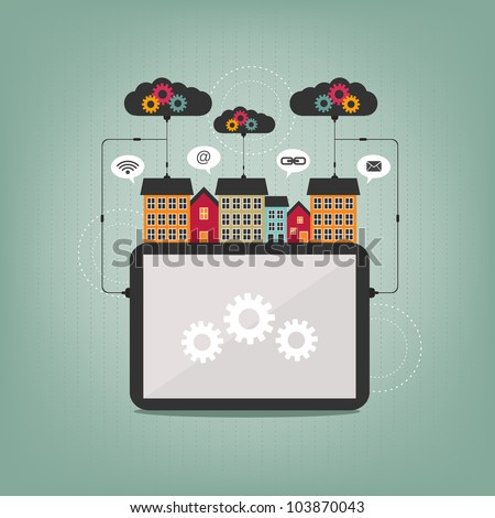 city tablet computer concept - stock vector
