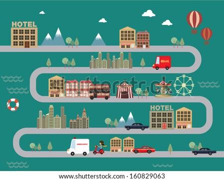 city/town cityscape vector/illustration - stock vector
