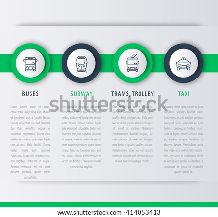 City transport, infographic elements, linear icons, vector illustration - stock vector