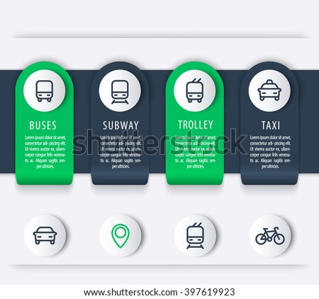 City transport, infographics elements, line icons, public transportation infographics, presentation template, vector illustration - stock vector