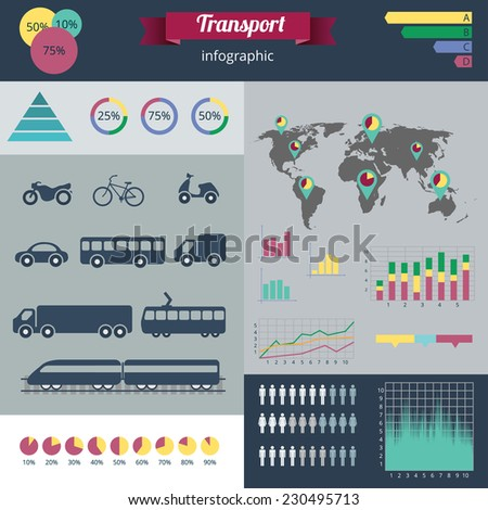 City transport infographics set. Vector illustration - stock vector