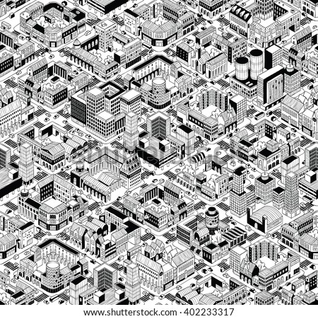 City Urban Blocks Seamless Pattern (Large) in isometric projection is hand drawing with perimeter blocks, courtyards, streets and traffic. Illustration is in eps8 vector mode, pattern is repetitive. - stock vector