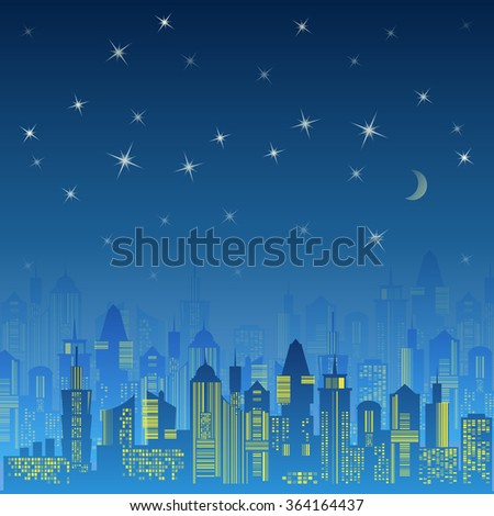 City urban design. Night landscape. Cityscape silhouette in the evening. Modern city design with luxurious skyscrapers. Buildings on the dark sky background with moon and stars. Vector illustration - stock vector