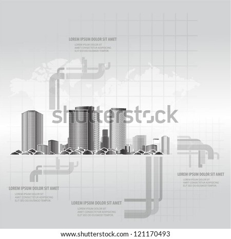City vector background with world map - stock vector
