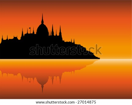 City view at sunset - stock vector