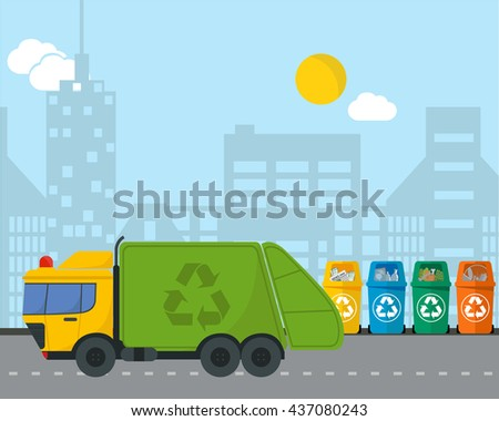 City waste recycling infographic flat concept with garbage truck. Vector illustration of categories and waste disposal and types sorting management . - stock vector