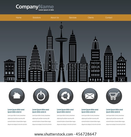 City web site design template - stock vector