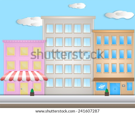City with cartoon houses and shops. Flat style - stock vector