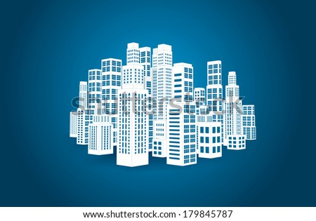 City with three-dimensional buildings and skyscrapers. Vector illustration on blue background - stock vector