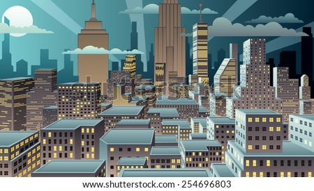 Cityscape at night. Basic (linear) gradients used. No transparency.  - stock vector