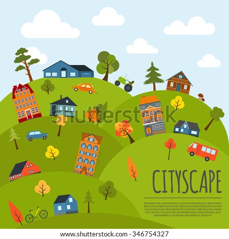 Cityscape conceptual graphic template. Urban, countryside, industrial buildings and outdoor scene. Graphic template. Infographic elements. Vector illustration - stock vector