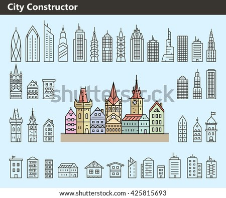 Cityscape constructor. Collection of building icons made in liner style. Vector illustration - stock vector