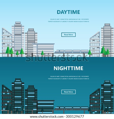 cityscape daytime and nighttime, infographics background and elements. Can be used for statistic , business data, one page web design, info chart, brochure template, banner. vector illustration - stock vector