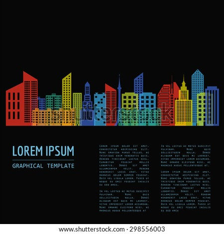 Cityscape graphic template. Modern city architecture. Vector illustration with different modern city buildings, office buildings, houses, entertainments.  Template with place for text. Colour version - stock vector