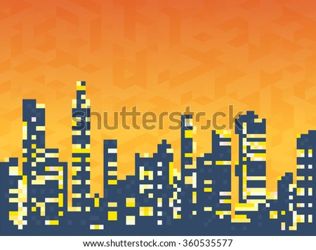 Cityscape of skyscrapers houses and the evening sunset sky - stock vector