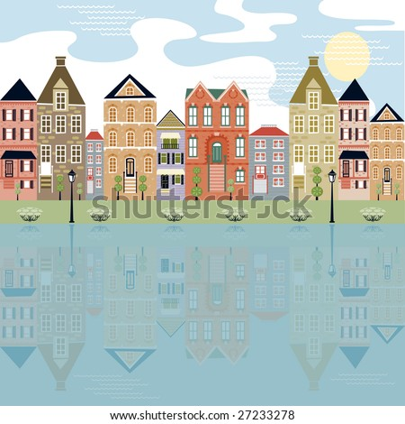 Cityscape on the waterfront with reflection of cute buildings - stock vector