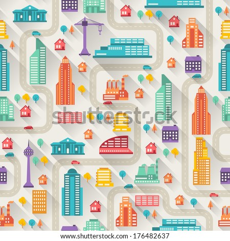 Cityscape seamless pattern with buildings. - stock vector