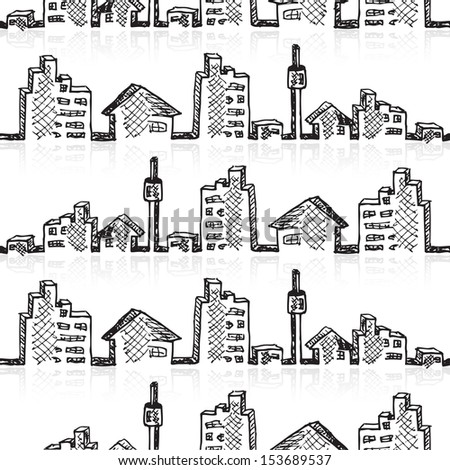 Cityscape seamless sketch, vector illustration, eps10 - stock vector