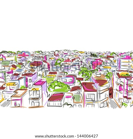 Cityscape sketch, seamless pattern for your design - stock vector