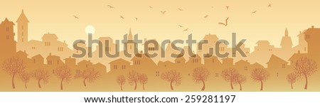 Cityscape Skyline.  Panorama of the Big City. Urban Background with City Park in Shades of Yellow - stock vector