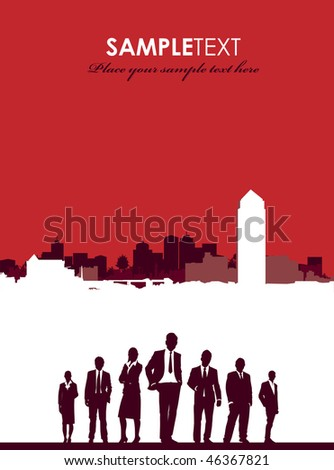 cityscape with business people - stock vector
