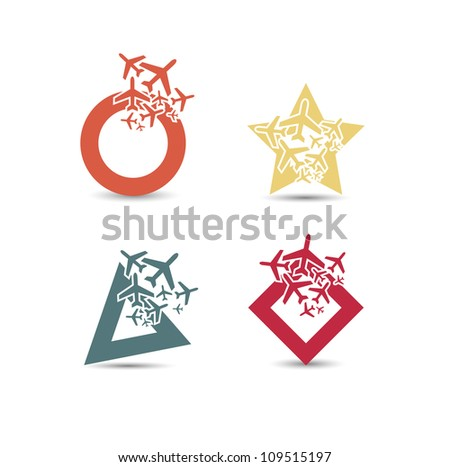 civil airplanes paths icon - stock vector