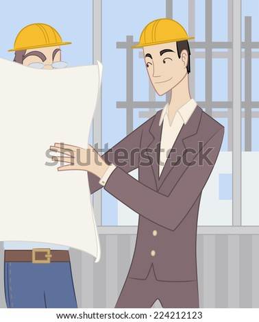Civil Architect Structural Engineer Architectural Construction Planner, exposing construction blueprints to a worker. - stock vector