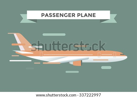 Civil aviation travel passenger air plane vector illustration. Civil commercial airplane flying vector silhouette. Travel plane isolated on background. Cargo transportation airplane vector isolated - stock vector