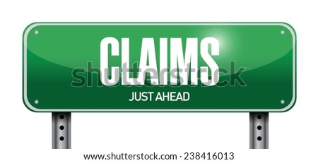 claims street sign illustration design over a white background - stock vector