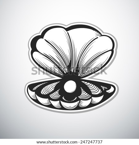 clam with pearl outline vector illustration - stock vector