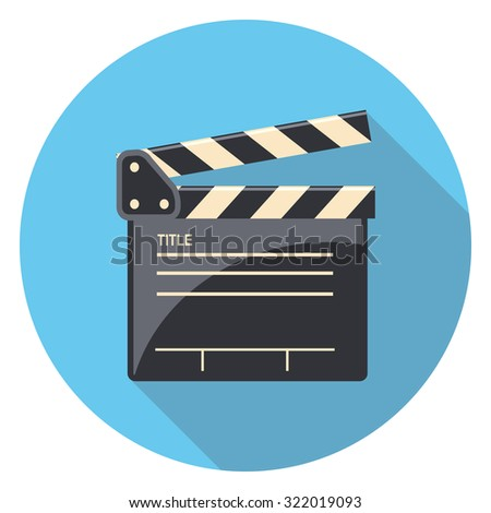 clap board flat icon in circle - stock vector