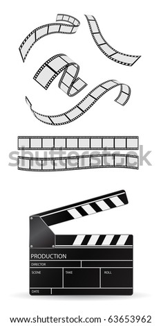 clapboard and film strip - vector set - stock vector