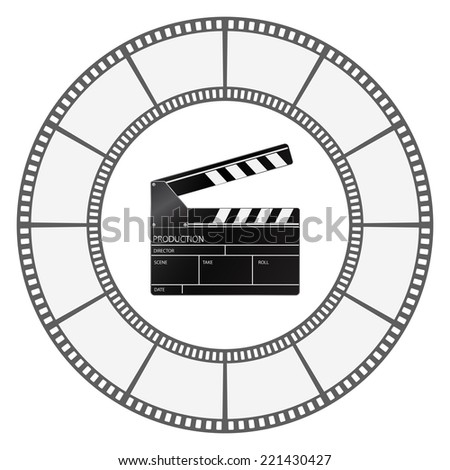 clapboard icon with filmstrip round frame design - stock vector