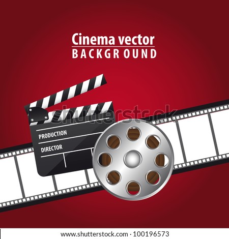 clapper board with movie film and  film stripe over red background. vector - stock vector