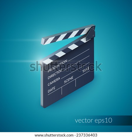 Clapperboard film production industry equipment isolated on blue background vector illustration - stock vector