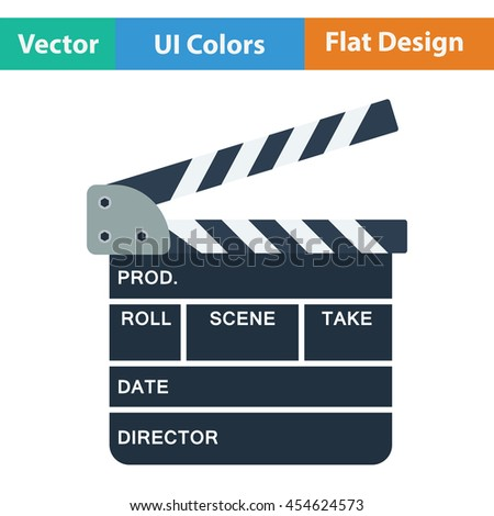 Clapperboard icon. Flat color design. Vector illustration. - stock vector